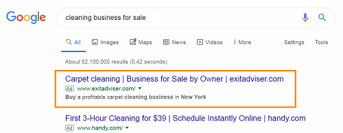A business-for-sale sale advert on Google